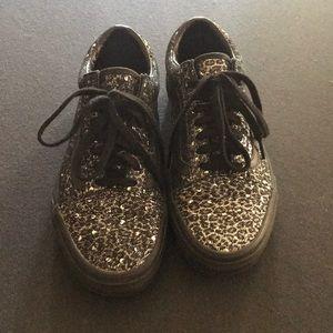Black glittered vans
